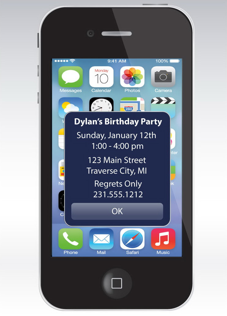 iphone alert birthday invitation - unique birthday party printable, Party invitations
