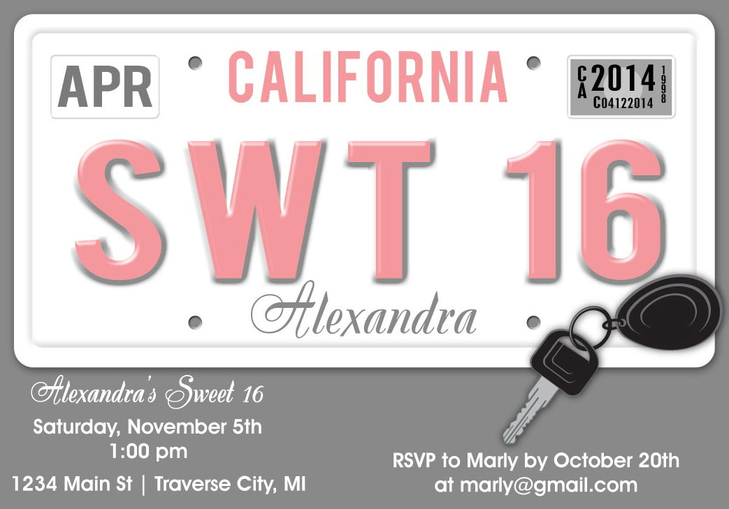 License Plate Sweet 16 Birthday Invitation - Unique Sweet Sixteen Birthday Party Printable on Luulla