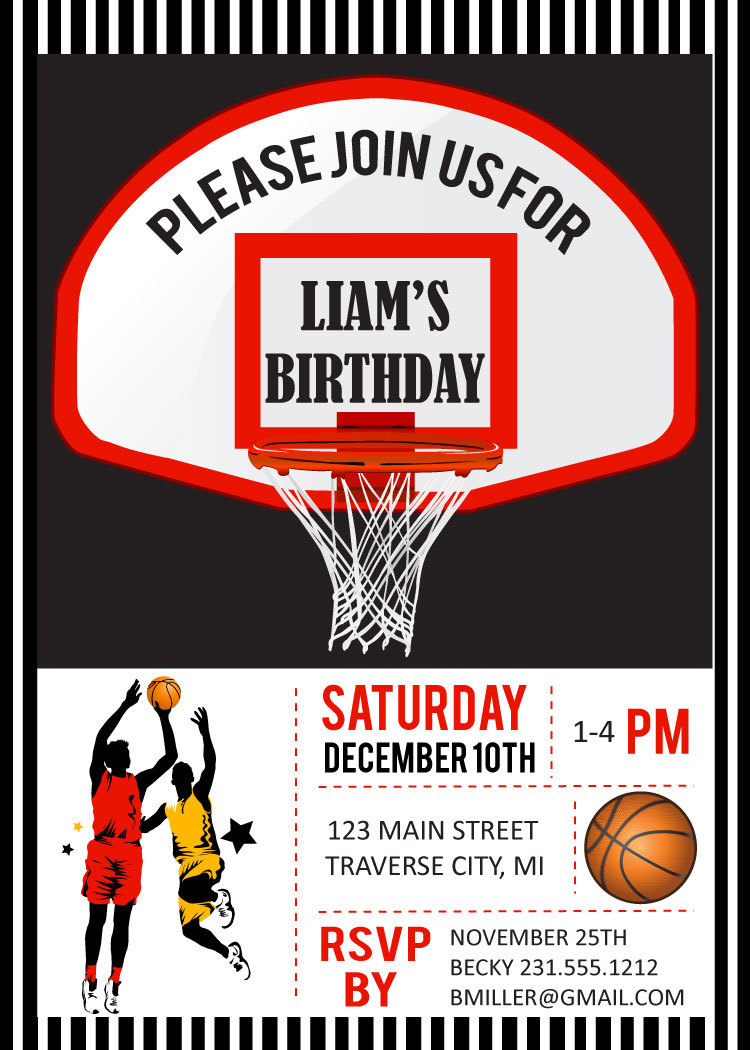 basketball birthday party invitations digital file diy printable basketball birthday party invitations digital file diy printable kids basketball birthday invitations