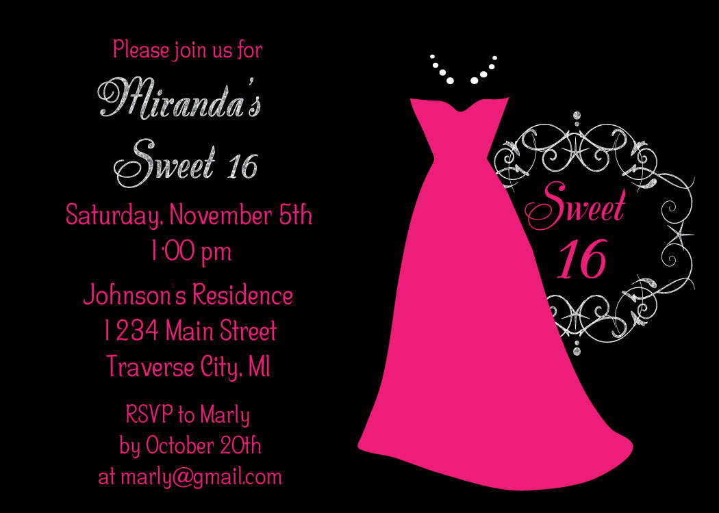 Dress Sweet 16 Birthday Party Invitations Kids Sweet Sixteen – Sixteen Birthday Invitations