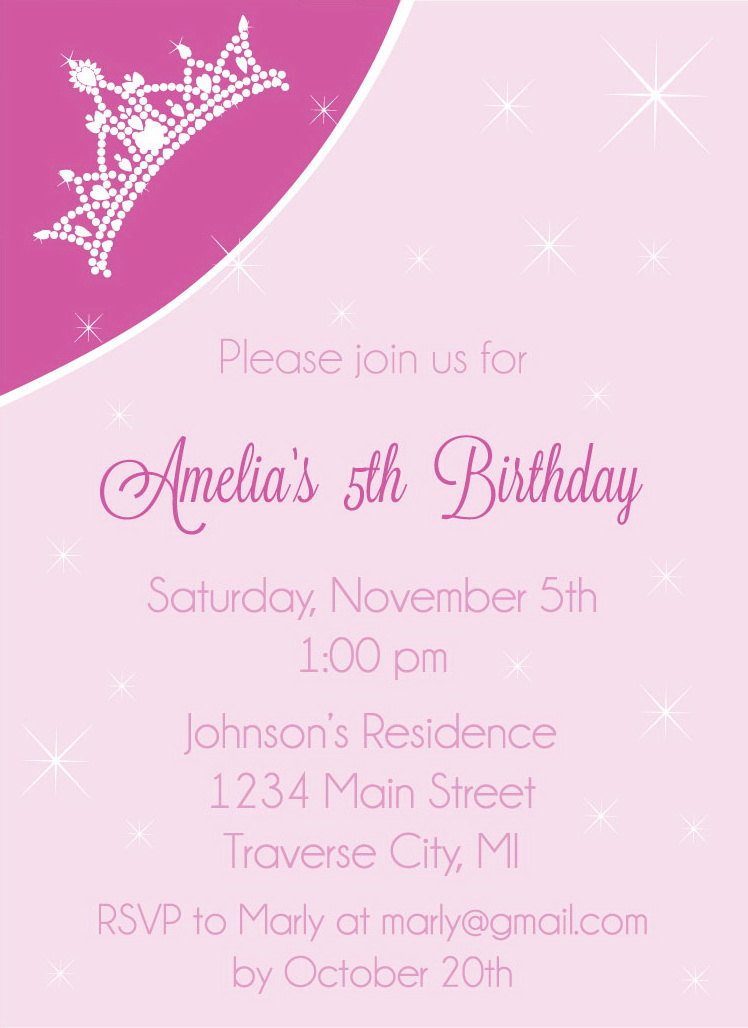 Crown Birthday Party Invitations Princess Kids Invites Digital – Diy Princess Party Invitations