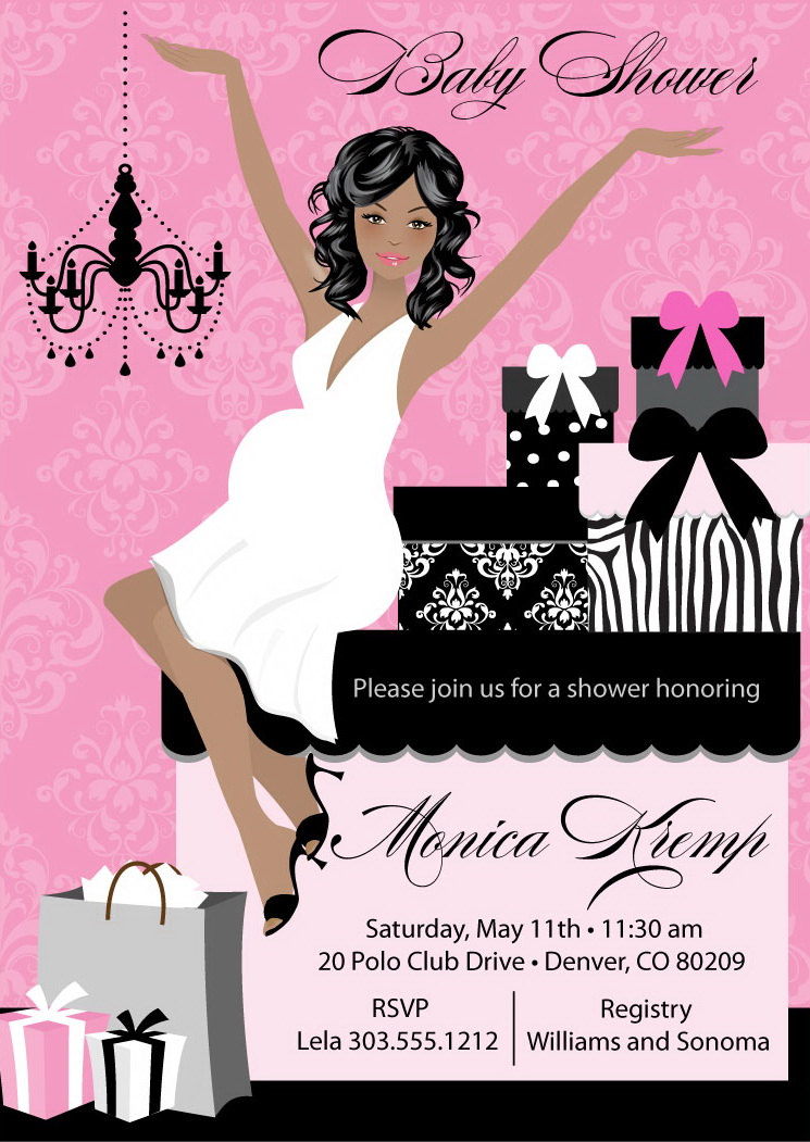 elegant mom girl baby shower invitations  pink, black, damask and, Baby shower