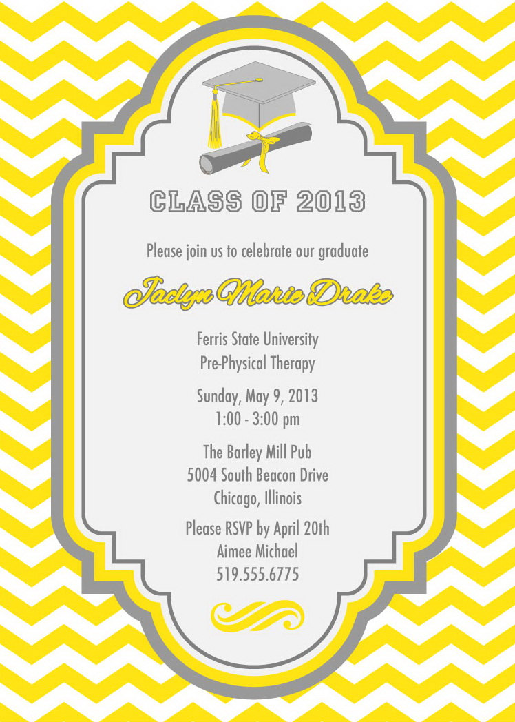 chevron pattern graduation party invitations grad announcement on luulla
