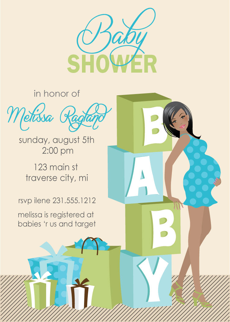 Blocks Baby Shower Invitations   Boy Baby Shower   African American