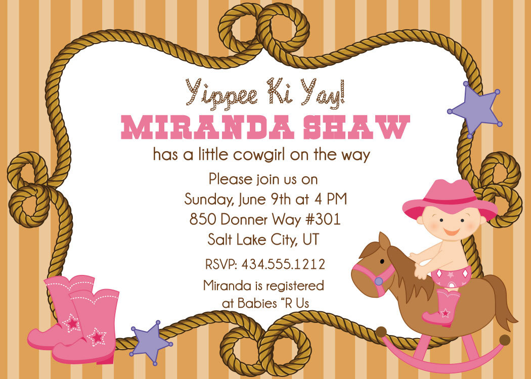 cowgirl baby shower invitations on luulla, Baby shower invitations