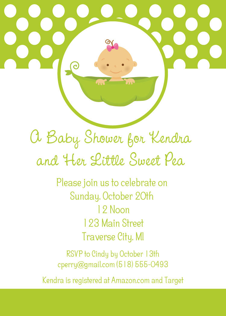 Sweet Pea Baby Shower Invitations Little Sweet Pea Theme