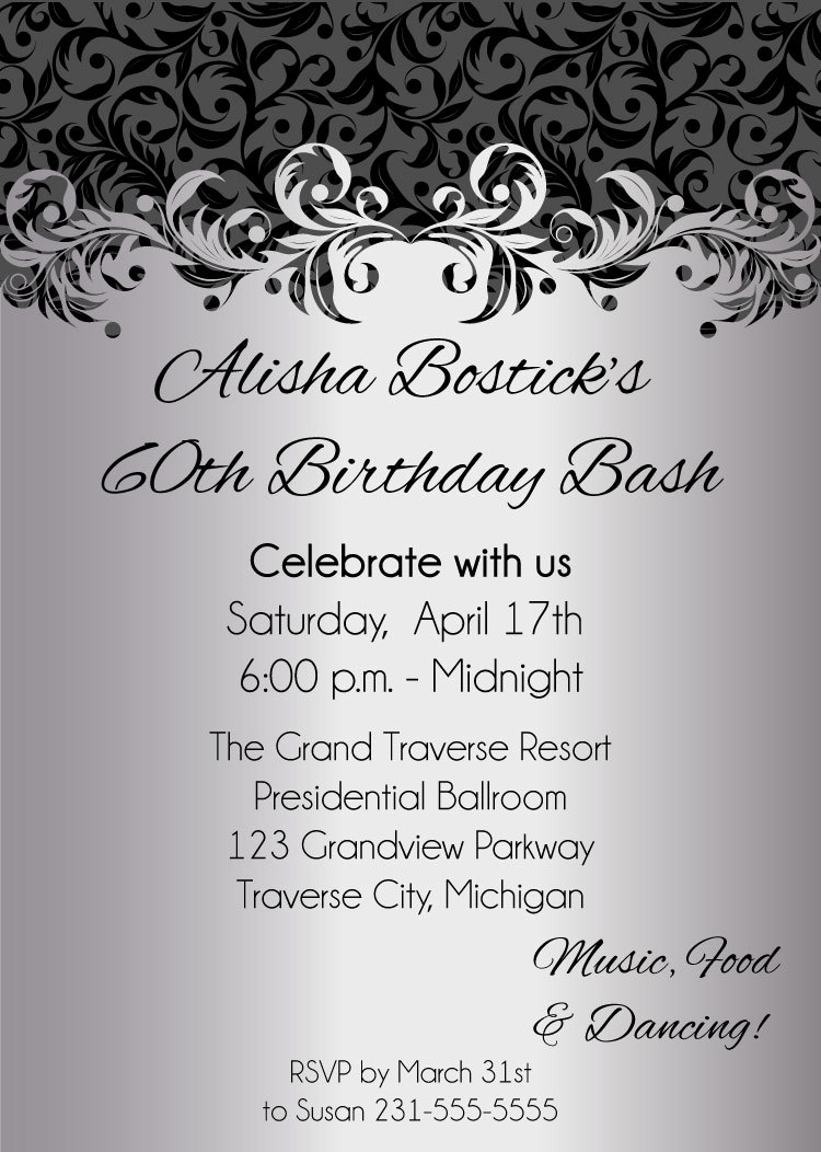 Silver Ornate Adult Birthday Party Invitations Printable Digital